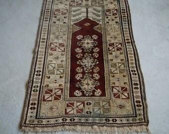 3'7''x5'8'' Turkish Handmade Rug, Clove Patterns, 1920s Rug