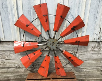 "Wall Windmill made from Drim Metal, Rustic, Industrial, Recycled Metal Wall Windmill, 36""-Orange"