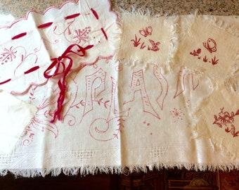 Pink linens / 6 pieces / dresser linens