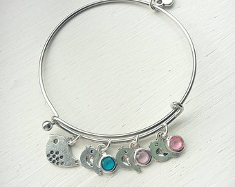 Mama and baby bird bracelet- mother and children bracelet- gift for mom- mama bird bracelet- baby bird bracelet- easter gift-