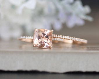 Bridal Ring Set with 8mm Cushion Morganite and Diamonds in 14k Rose Gold, Morganite Engagement Ring, Diamond Half Eternity Band