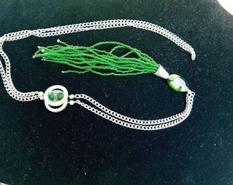 Green and silver seed bead tassel necklace