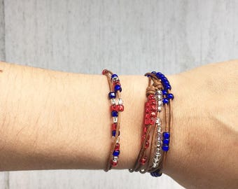 Adjustable Seed Bead Strech Bracelet- Fourth of July bracelet, Toddler bracelet, beaded bracelet, kids bracelets, stacking bracelet,
