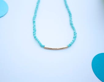FREE SHIPPING Simple Seed Bead Turquoise Necklace Minimalism Gold Bar Strand Necklace Boho Strand Necklace