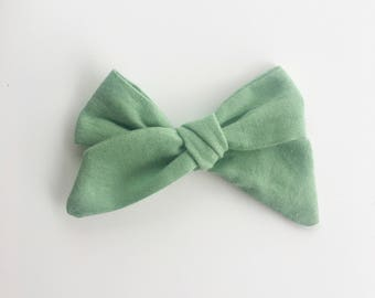 Jane bow|Sage Green Hand Tied bow