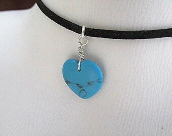 Turquoise heart pendant necklace gemstone heart necklace howlite turquoise vegan leather choker pagan new age boho choker yoga chakra gift.