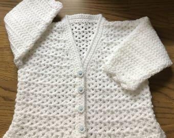 Printed DK Crochet Pattern For V Neck Cardigan. Sizes: Birth to 6 years (1013)