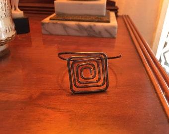 Vintage Mexican sterling silver geometric cuff bracelet