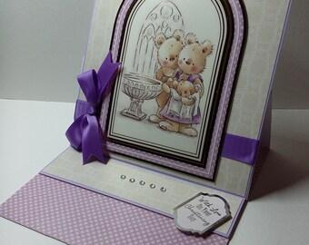 Handmade christening easel card