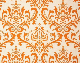Premier Prints Traditions Sweet Potato Orange Damask Fabric by the Yard - Ready to ship