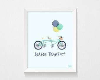 Better Together | PRINTABLE, Instant Download, Bike, Balloons, Quote Print, 8x10, Wall Art