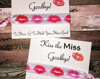 Bachelorette Party Favors, Kiss the Miss Goodbye Hair Tie Favors, To have and to hold your hair back, hair tie favors, Miss to Mrs Favor