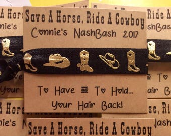 Save A Horse, Ride A Cowboy, Nash Bash, Boots and Hats Western, Nashville Bachelorette Party Favors, Rodeo Hair Tie Favors, Nashlorette,