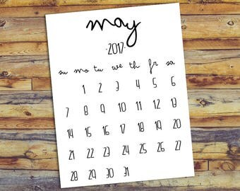May 2017 Printable Calendar - Black And White - Instant Download Birth Announcement Printable Newborn