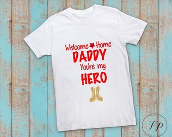 Welcome Home Daddy Kids Tshirt or Long Sleeve  (Red)