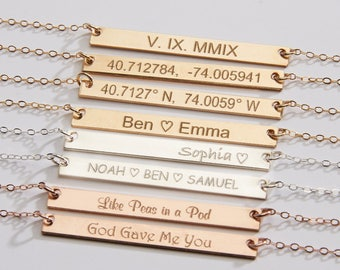 Custom Name Necklace-Reversible Gold Bar-Personalized Name-Date-Coordinate Latitude Longitude-Inspirational-14K GF-Rose-Silver -CG209N