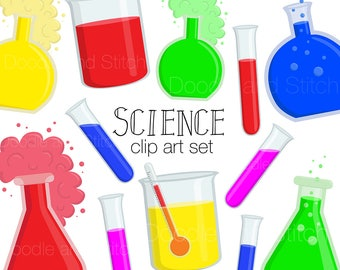 Science Clip Art Set, Fun Scientific Clipart, Science Experiment Illustration, Chemistry Pictures, Test Tubes, Digital Stickers