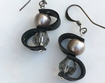 Recycled Upcycled Bicycle Inner Tube Earrings