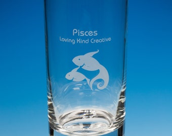 Pisces Hiball Glass Personalised Gift, Engraved Pisces Gift, Horoscope Gift, Pisces Birthday Gift, Zodiac Gift, Pisces Sign Glass, Pisces