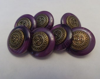 7 Vintage Fancy Purple Shank Buttons With Bronze Like Middle With Cross Design Vintage Metal Shank Purple Swirl Buttons Fancy Elegant