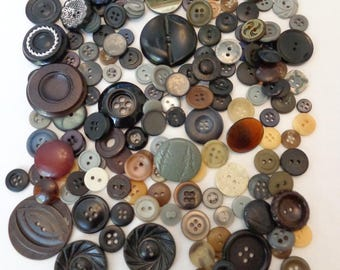 185 Vintage Dark Mixed Buttons Assorted Buttons Retro Button Mix Greys and Blacks Assorted Buttons Vintage