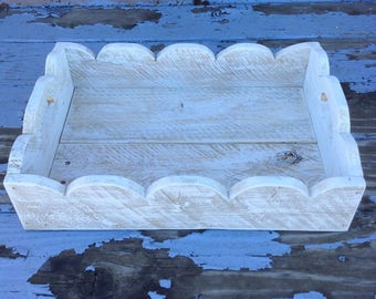 "Decorative Whitewashed Tray with Scalloped Edge Detail   16 1/2"" x 12 1/2"" x 4 """