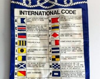 Flag semaphore bag, 1980's Ulster weavers, cotton, P.V.C.