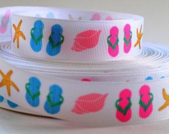 "7/8"" Flip Flops, Star Fish, Sea Shell Printed Grosgrain Ribbon"