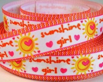 """7/8"""" Summer Ribbon - Sunshine Girl  Print Grosgrain Ribbon"""