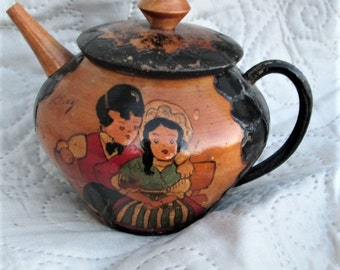VINTAGE FRENCH BOX, teapots, wood items, french wood, french costumes, round boxes, handpainted boxes,