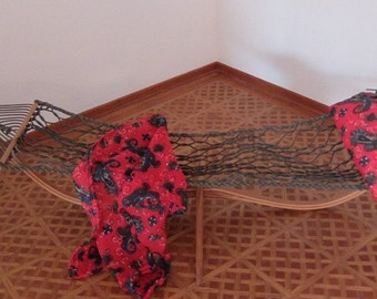 Hammock for dolls on laminated stand.OOAK.