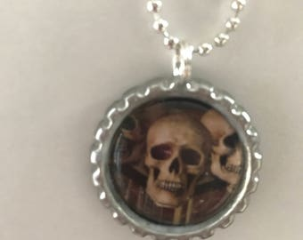 Silver skull necklace, bottle cap necklace, Halloween necklace