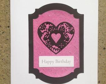 Heart Design Happy Birthday Card