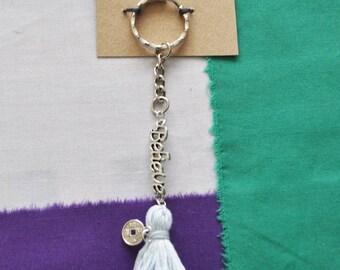 Handmade Believe Blue Pompom Keyring