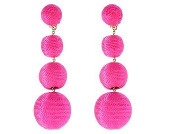 """The Lido: A """"Bon Bon"""" Style Pom Pom Earring; Bougainvillea Pink"""