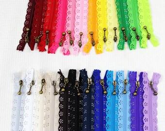 5pcs 30 cm nylon lace Zippers, Scollaped Trim Zippers