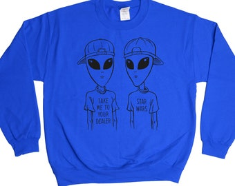 Take Me To Your Dealer Sweatshirt - Sci-Fi Aliens Teenager Punks Sweater - Mens Womens - Holiday Sweater Pullover Oversize Sweat Shirt Top