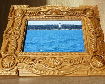 Wooden Photo Frame Picture Frame Gifts Idea Picframe Woodcarv Nautical Birthday Mother Father Day