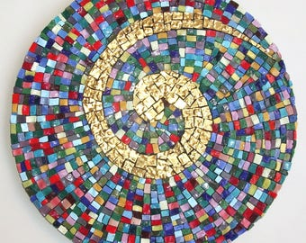 Sunshine Mosaics, Mosaic Art, Colorful, Wall hanging, Smalti mosaic, Handmade item, Home Decoration, Gift Idea