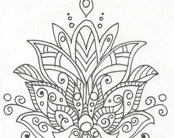 Hand Drawn Zentangle Lotus Nail Decals