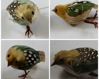4 Feathered Craft Birds - Decorative Craft Birds - Feather Birds - Artificial Birds - Bird Decoration - Assemblage Supplies - Wedding Supply