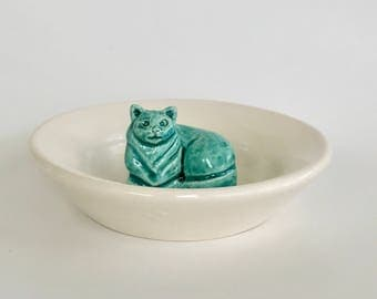 Handmade Green and White Ceramic Cat Jewelry Dish