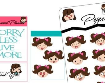 Emoji Girl Stickers, Planner Stickers, {#49}