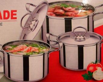 Set of 3 small pots pot Bass Stainless lids stew soup pasta