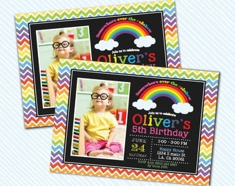 Digital Printable Rainbow Birthday Invitation