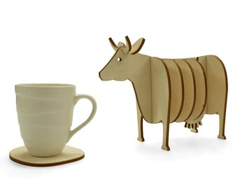 Wooden 3d Cow Coaster Set, Handmade Animal Coasters