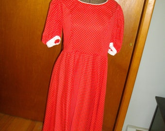 Vintage 1970's Red Dress With White Polka Dots
