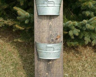 4' tall organizer Pine or Cedar 3 bucket wall mount flower planter / Bathroom / Kitchen