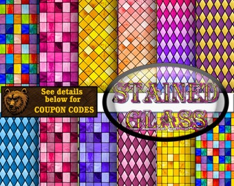 STAINED GLASS:   stained glass digital paper, digital paper, digital download, background, scrapbook paper
