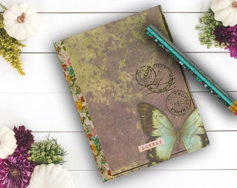 Lovely Butterfly Postmark Journal, Gift for her, Goth Notebook, personal diary, girls diary, Gifts under 10, travel journal